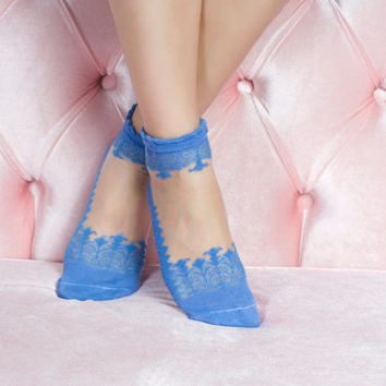 Blue Lace Socks Fashionable lace socks girlfriend gift