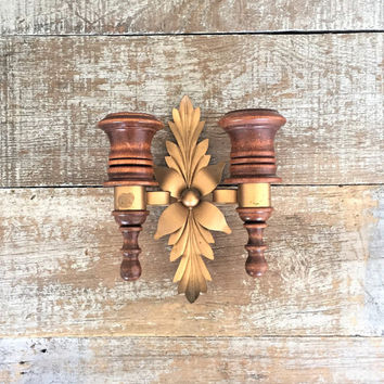 Wall Sconces Candle Sconces Wood and Brass Candle Holder Mid Century Candlestick Holders Wall Mount Wood Candle Holder Hollywood Regency