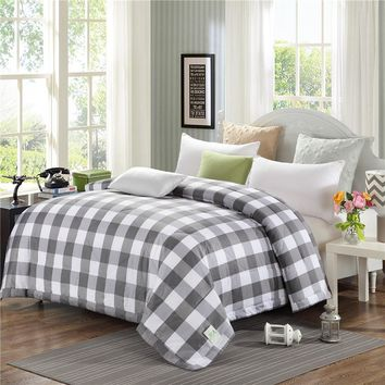 Summer Style Patchwork Quilts Pastoral plaid cotton Quilted Set Full Queen Twin king Size Blankets Thin Duvets Print Comforter
