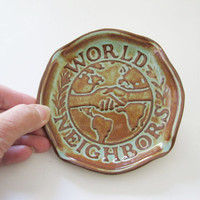 Nicodemus Pottery World Neighbors Ashtray Turquoise Blue Brown Art Pottery Ohio -FL
