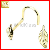 14k Gold Nose Screw Leaf 14k Solid Yellow Gold 20g Tiny Nose Stud Nose Ring Real Gold Piercing Jewelry