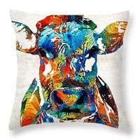 "Colorful Cow Art - Mootown - By Sharon Cummings Throw Pillow 26"" x 26"""