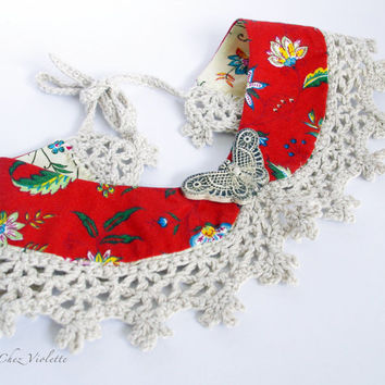 Floral Peter Pan Collar Red flowers Linen Lace romantic crocheted Fabric Necklace handmade Butterfly Ceramic Button French country fabric