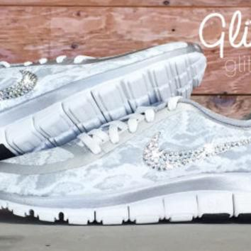 Nike Free Run 5.0 V4 PT Glitter Kicks Running Shoes Blinged Out With Swarovski Element