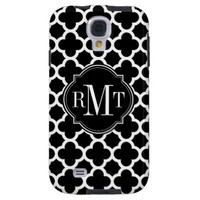 Quatrefoil Black and White Pattern Monogram from Zazzle.com