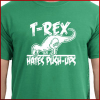 T-rex Hates Pushups Push Ups T-shirt Gym Workout Funny TRex dino tee S-2XL more colors