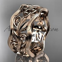 14kt rose gold celtic trinity knot wedding band, engagement ring CT7263G