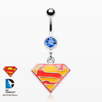 Superman Dangle Belly Button Ring