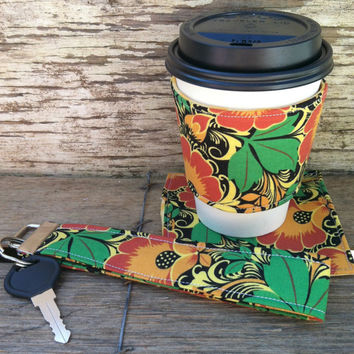 Coffe Lovers Gift Set / Reusable Coffee Sleeve with Matching Coaster and Key Fob/ /Fall Colors
