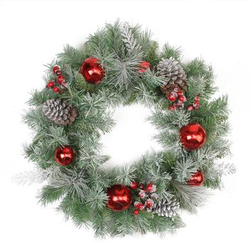 "24"" Flocked Pine  Red Ball  Berries & Silver Cedar Artificial Christmas Wreath - Unlit"