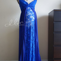 Carly royal blue lace/chiffon slim fit maternity gown/trumpet gown/mermaid gown/bridal gown/senior prop/modeling