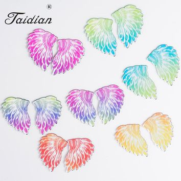 New Design Wing Shape Fashion Acrylic Mirror For Native American Beadwork Beaded Earring Wing Shape Mix Color 25*38mm 16pcs/lot