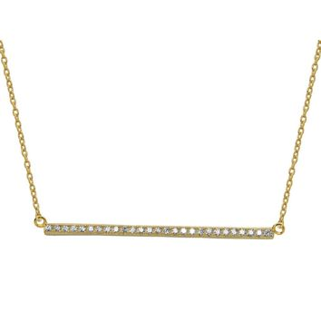 "Sideways Gold Bar Pendant Cubic Zirconia Stone Necklace, 16"" + 1"""