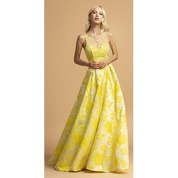 Printed Long Prom Dress Yellow with Pockets