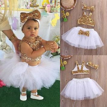 kid children clothing summer princess infant Toddler Baby Girl Sequins party dance Tops+Tutu Skirts Headband 3pcs Outfits Set