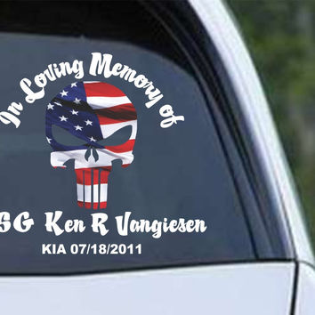 In Loving Memory Punisher Die Cut Vinyl Decal Sticker