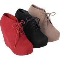 Brinley Co. Womens Lace-Up Wedge Booties | Meijer.com