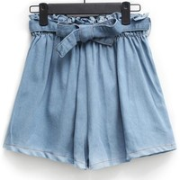 High Waist Bowknot Denim Shorts