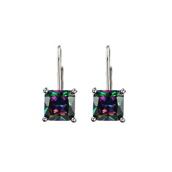 2.00 CTTW Princess Cut Mystic Topaz Lever-back Earrings in 18K White Gold Plating