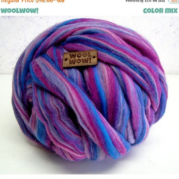 Chunky yarn. Super bulky 100% Merino Wool. Big skein of mixed color yarn. The thickest yarn on the market. Giant yarn by woolWow!