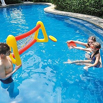 By PoolCentral 51 inch  Red and Yellow Inflatable Swimming Pool Water Sports Frisbee Game Set