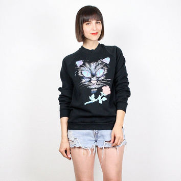 Vintage Black CAT Sweater Kitten Print Rose Floral Sweatshirt Pullover New Wave Screen Print Novelty Print Kawaii T Shirt Jumper S Small