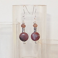 Sterling Silver, Red Agate beaded dangle earrings - Gemstone jewellery - Natural stone jewellery - Women's jewellery - Hand made