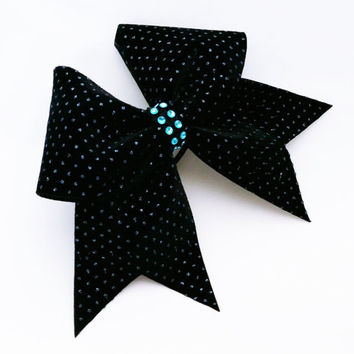 Cheer bow, Black cheer bow, teal glitter cheer bow, cheerleader bow, cheerleading bow, cheerbow, softball bow, dance bow, pop warner bow