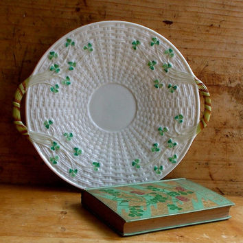 Vintage Belleek Cake Plate - Irish Basket Weave Shamrocks, Clover, 1946 -1955, Hand Painted Dessert Platter - Serving Dish - Cottage Decor
