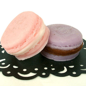 French Macarons  - Rose Cream and Lavender Chocolate - Goat's Milk Soap Set