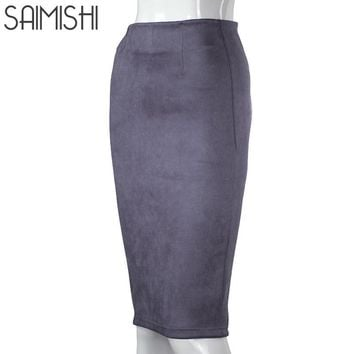 Fashion Women Skirts Suede Female Lady Autumn Basic High Waist Thicken Stretchy Pencil Skirt