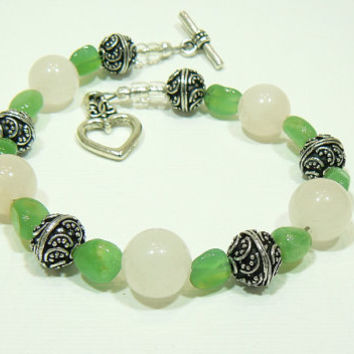 Rose Quartz and Green Aventurine Bracelet