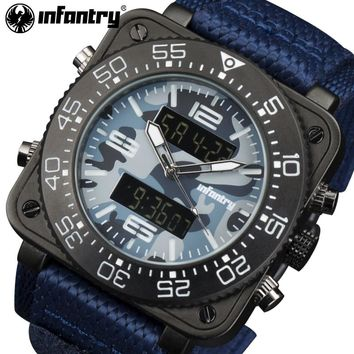 INFANTRY Mens Watches Top Brand Luxury Waterproof Camo Date Quartz Watch Man Nylon Sport Wrist Watch Men Luminous Aviator Clock