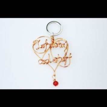 Handmade Copper Wire Key Chain With Custom Your Name
