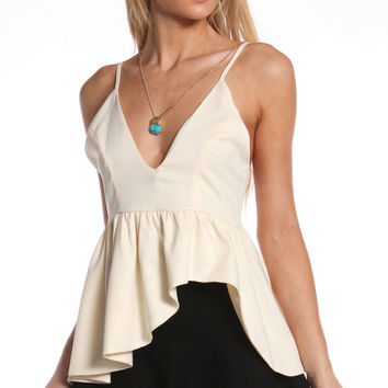 DEEP V IVORY PEPLUM TOP
