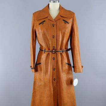 Vintage 1970s Tan Brown Leather Trench Coat