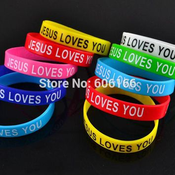 50x JESUS LOVES YOU mix colors silicone Bracelet wristband Fashion Catholic Christian Religious Jewelry