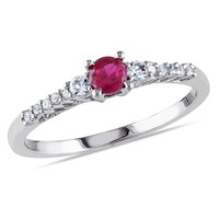 0.05 Carat Diamond And 1/3 Carat Created Ruby Created White Sapphire Fashion Ring Silver