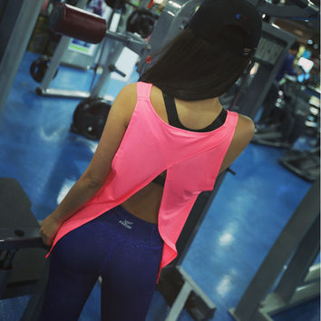 5 Colors Summer Sexy Women Tank Tops Dry Quick Loose Fitness Vest Singlet for Exercise Women's Workout Shirts Back Knot 1060