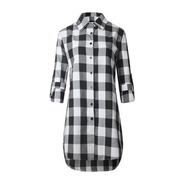 Ladies Blouse Casual Cotton Lapel Tops Long Sleeve Plaid Shirt Women Slim Outerwear Plus size Clothing SM6