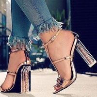 Fashionable Rough-heeled Crystal-heeled Sandals High-heeled Shoes Large Size Hollow-toed Women's Shoes