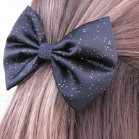 Glitter Satin Big Hair bow -Black- 90mm Barrette