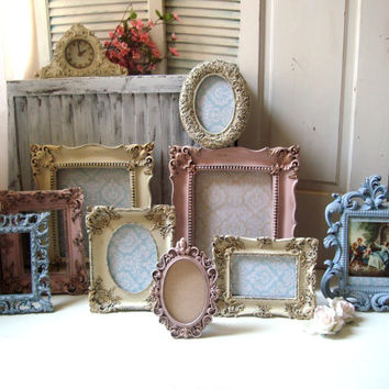 Shabby Chic Pink and Blue Ornate Vintage Style Picture Frames with Glass and Backing, Cream, Baby Pink and French Blue Distressed Frames