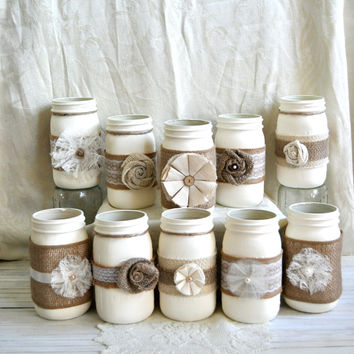 Set of 10 Mason Jars Bulk- Rustic Country Shabby Chic Wedding Baby Shower Bridal Shower Decor Mason Jar Centerpieces