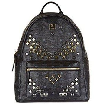 MCM Medium Leather Stark Studded Visetos Backpack Bag