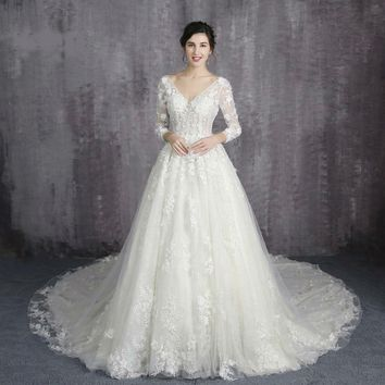 Lace up back A Line Wedding Dresses lace big train long sleeves for brides  Wedding Gown