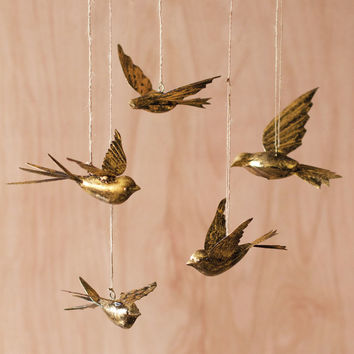 Brass Swallow Ornaments - Set of 5