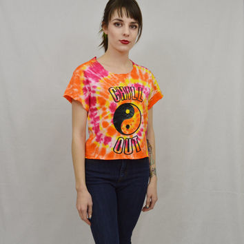 Tie Dye Shirt Yin Yang Chill Out Hippie Small Good Vibes Psychedelic Handmade Tie Dye Womens Clothing Fuchsia Yellow Spiral Tie Dye Groovy