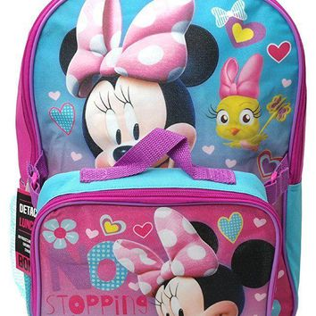 "Disney Minnie Mouse ""Stopping This Girls"" Large 16"" Backpack With Lunch Bag Set"