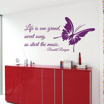 Music Wall Decals Life Is Sweet Song Quote Butterfly Vinyl Decal Sticker Interior Design Art Mural Kids Nursery Room Decor KG400